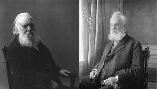 Notable persons within the Deaf Community and History [Left] Alexander Melville Bell (Father) invented an alphabet for deaf people, called Visible Speech. [Right] Alexander Graham Bell (Son) invented the telephone, among other things. Original images from the Library of Congress. Image Reference: (INNOVATIONNEWSDAILY, 2012)