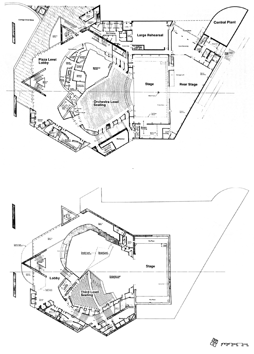 Two Sample Plans of The Segerstrom Performing Hall [Top] Main Level [Bottom] Third Level Original plans by Jerald R. Hyde Plans Reference: (SIEBEIN, Gary W and Kinzey Jr, Bertram Y, 1999).