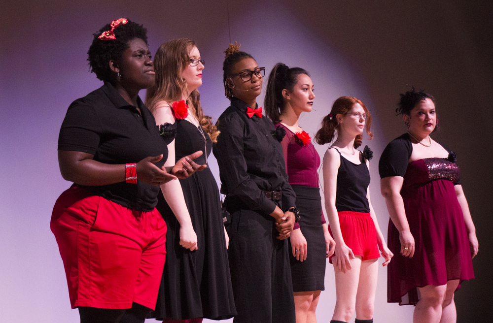 Mahalia Agyepong, Jay Menai, Lena Glover, Sherry Bogue, Erin Jordan, and Alex Lombard on stage during UNT's 16th annual production of The Vagina Monologues. Photo by Amelia McBride.