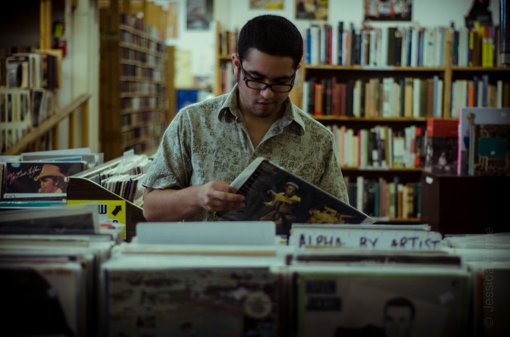 Character at Recycled Books. Photo by Jessica Hume.