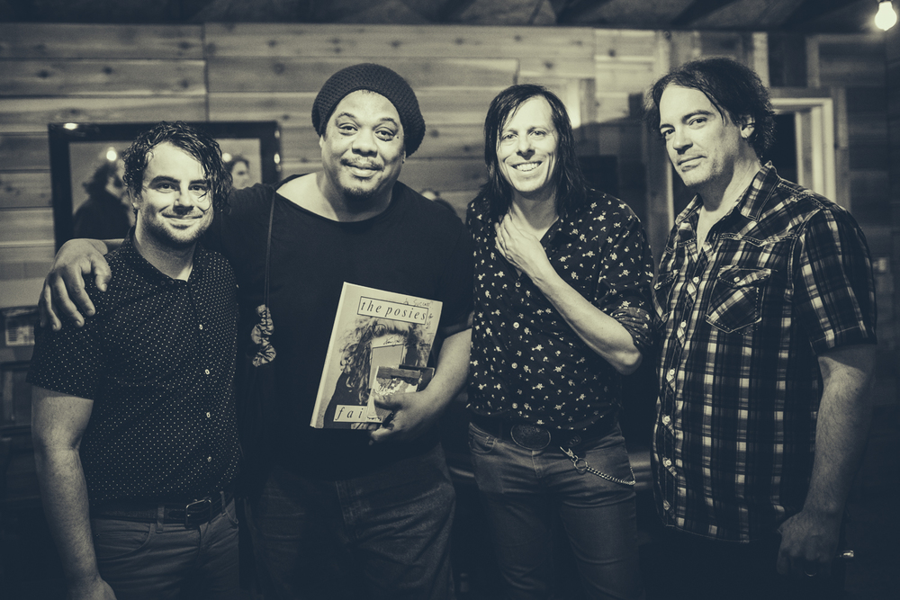 The Posies with a fan (second to left) at Redwood Studio on Thursday. Photo by Marcus Junius Laws