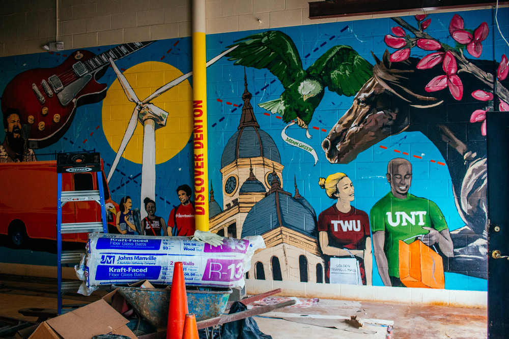 New mural coming inside the Denton CVB downtown. Photo by Adrian Samano.
