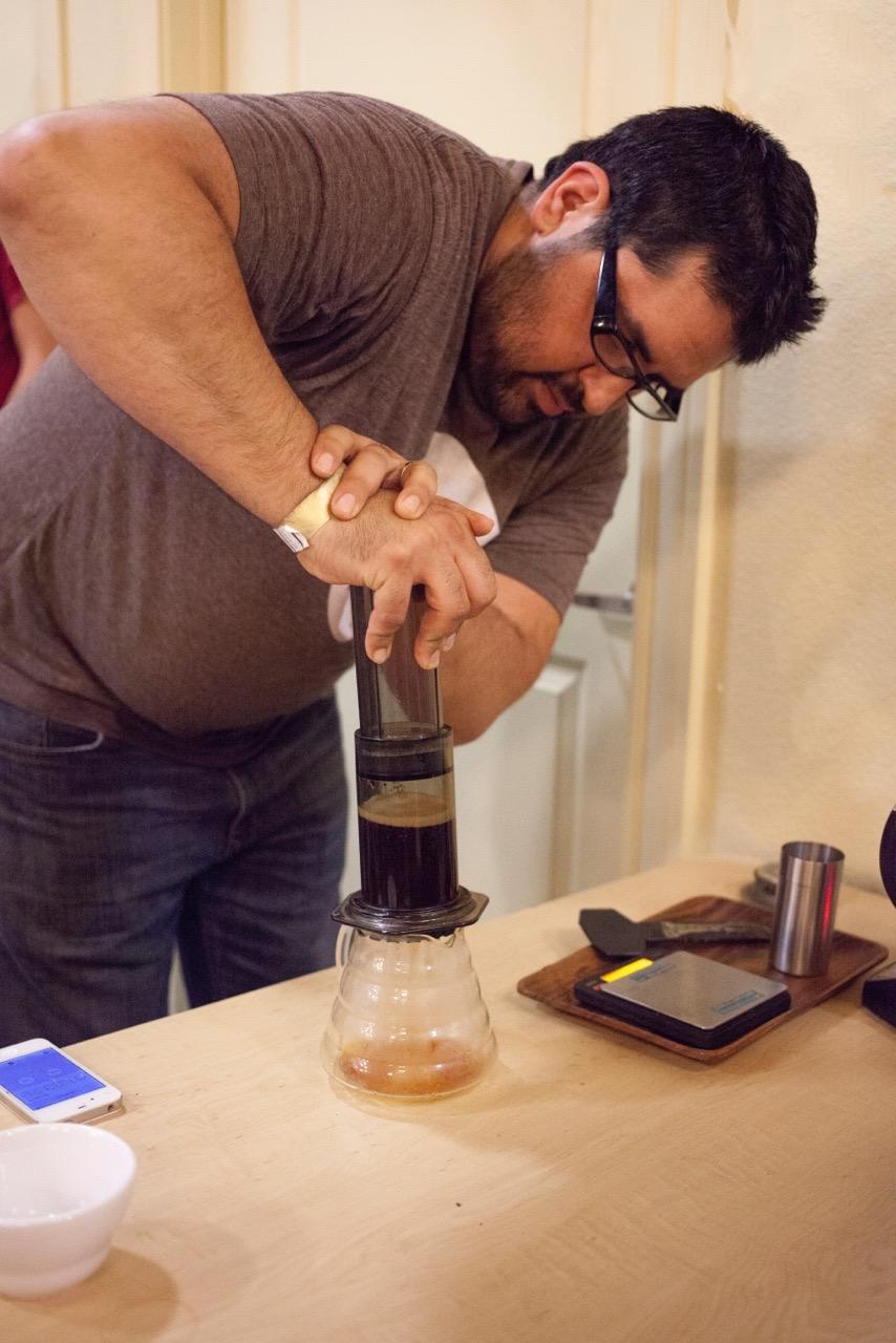 Carlos Palacios with Trio Craft Coffee. Photo by Reed Keeney.