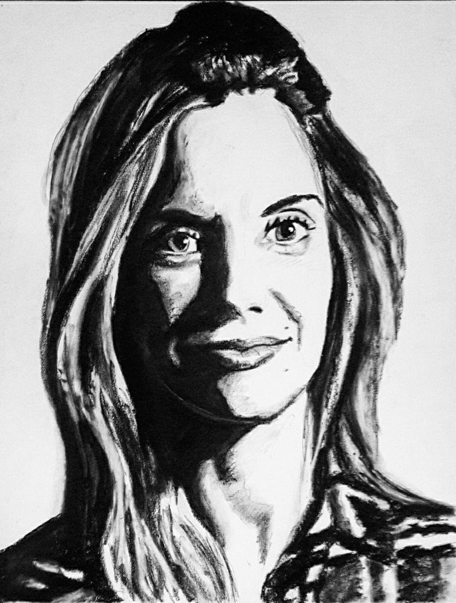 Mrs. Kruse  charcoal drawing by Rezin Shelton