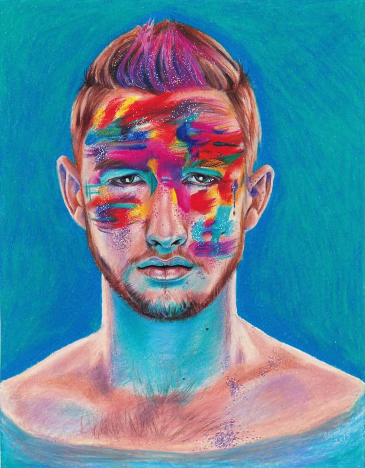 untitled  Prismacolor drawing on coloured pencil paper by Elizabeth McDonald