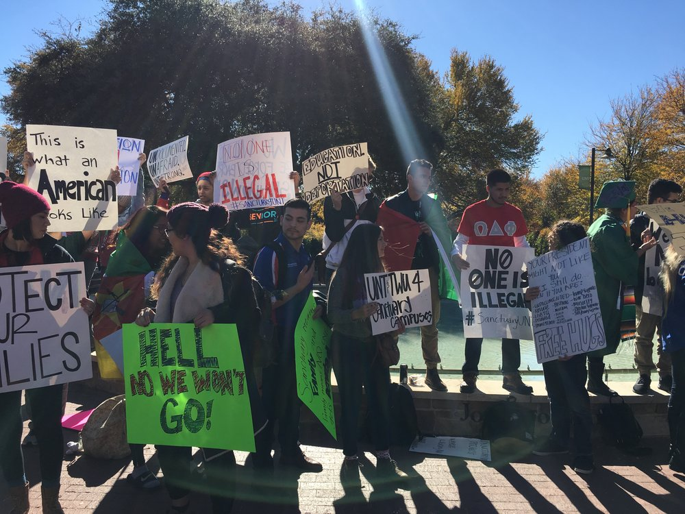 UNT Protestors lined up. Photo by Madi Gostkowski.