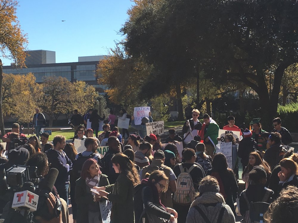 Protestors at UNT. Photo by Madi Gostkowski.