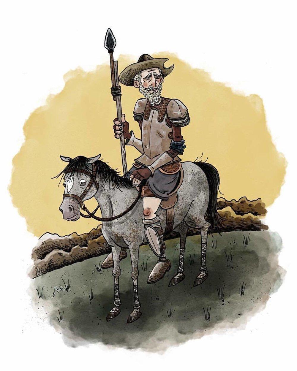 Don Quixote  Pen and Ink w/ digital color