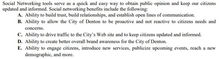 City of Denton Policy-Administrative Procedure-Administrative Directive for Social Media
