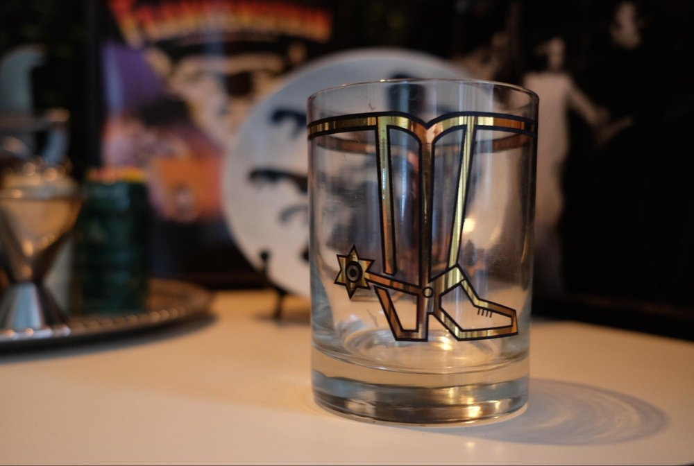 First item I ever bought at Mini Mall. Cowboy boot highball glass (1 of 6).