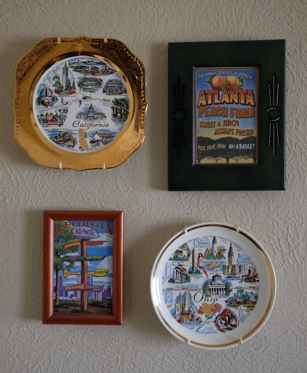 California & Georgia decorative plates. The birthplaces of my husand (CA) and I (OH).