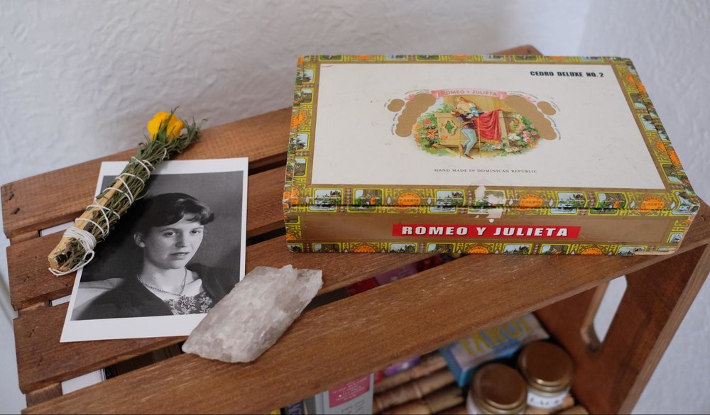 Romeo y Julieta cigar box. Holds candles and tarot cards.