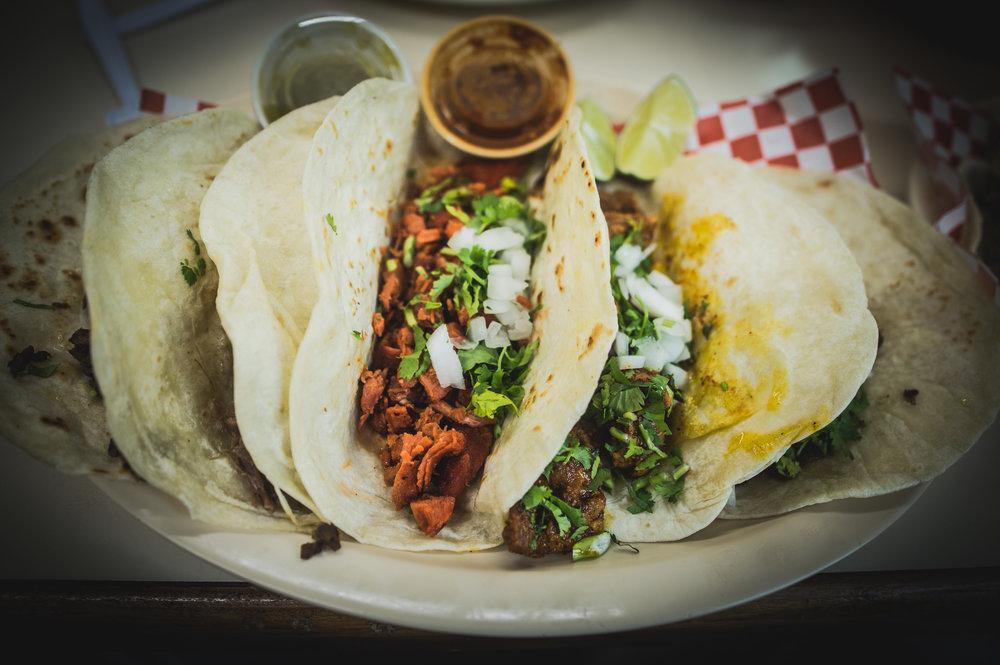 Selection of tacos at Tortilleria La Sabrocita.  Photo by Garrett Smith.