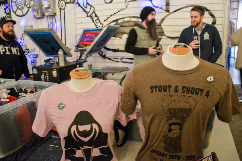 Some of PINT Services' screen-printed tees available for Stout and Shout IV