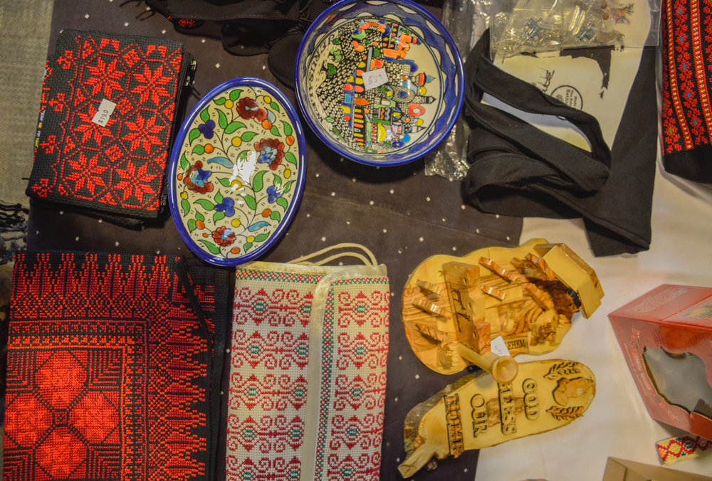 Handmade crafts and artifacts found at Broken Film Festival. Handmade in Palestine.