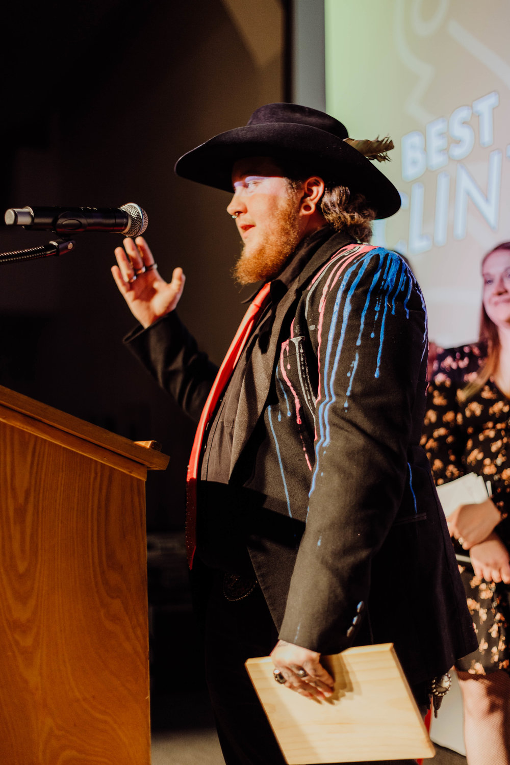 Clint Liquor accepting his award.