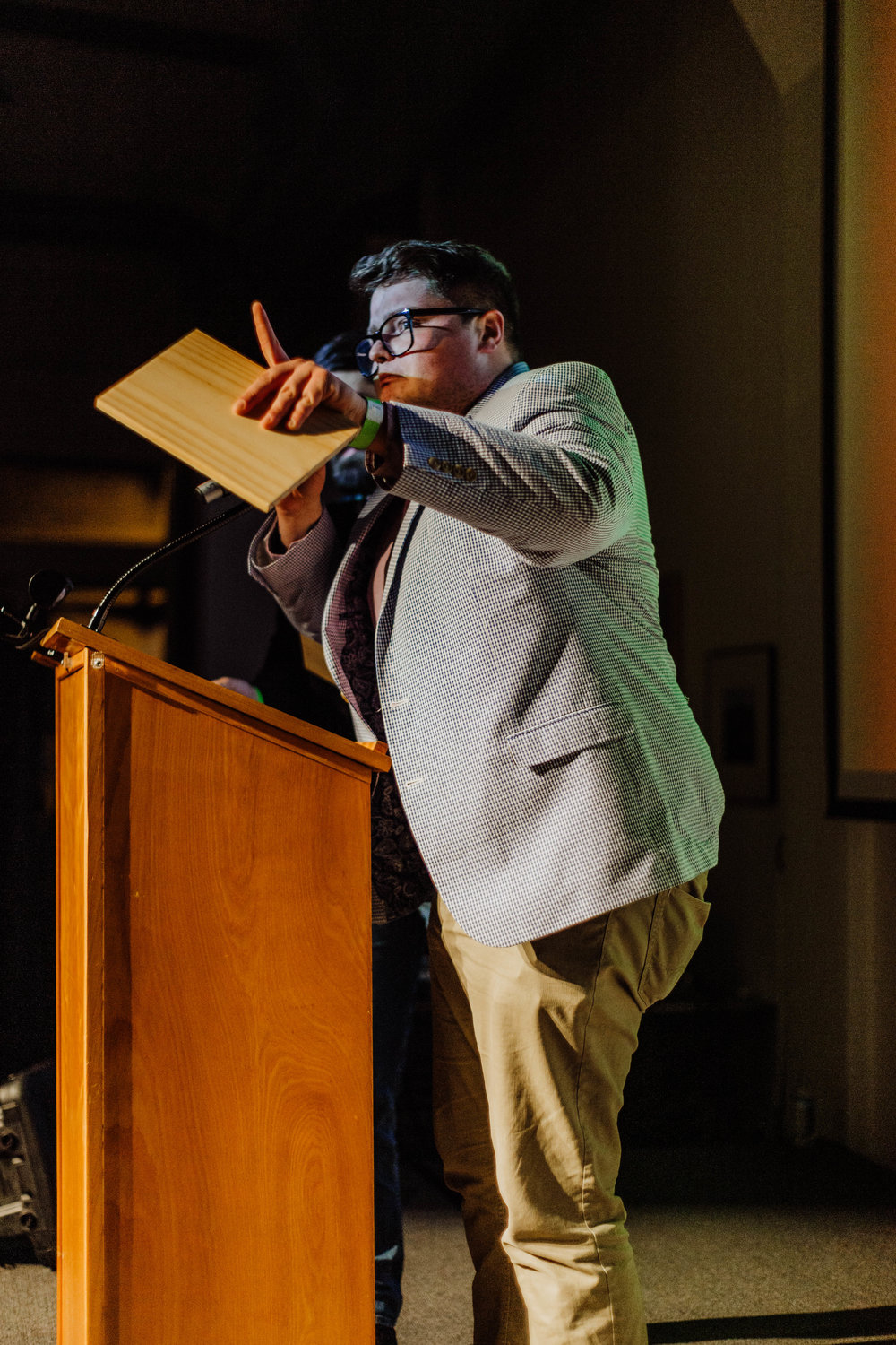 Tony Casillas accepts his award as Best Comedian.