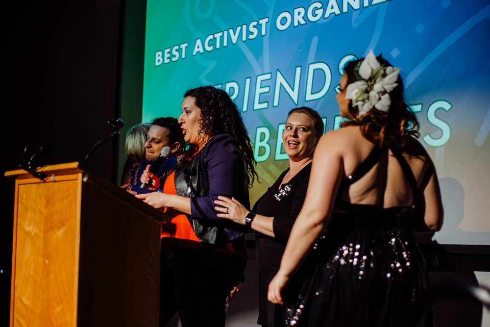 Friends With Benefits accepting their award.