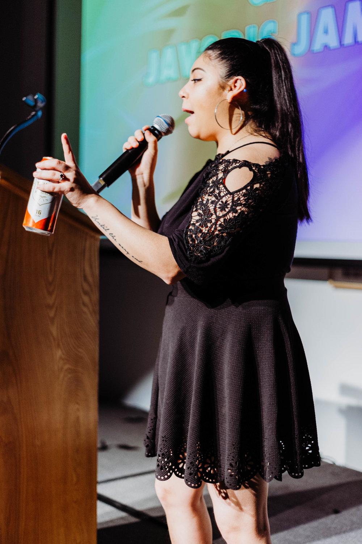 Anjelica Fraga speaks during the DAM Awards.