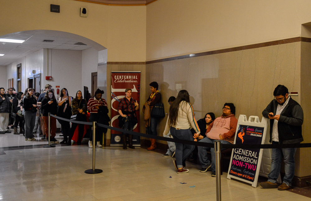 This event was open to the public; a separate line of non-TWU students were lining up the door to enter the show