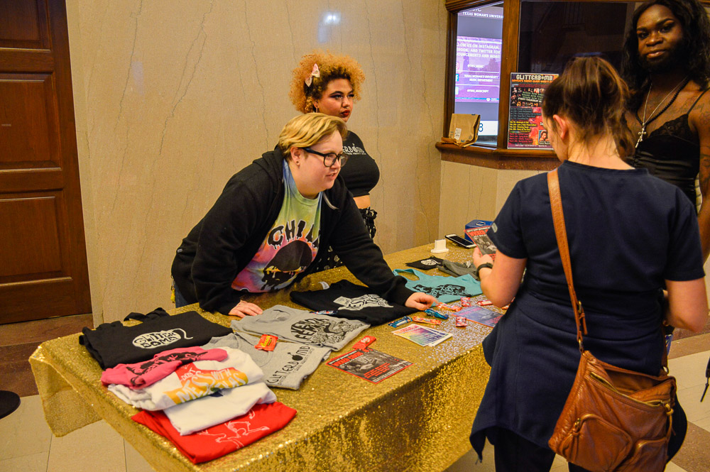 Glitterbomb was promoting drag show events, selling merch and handing out flyers to the crowd.