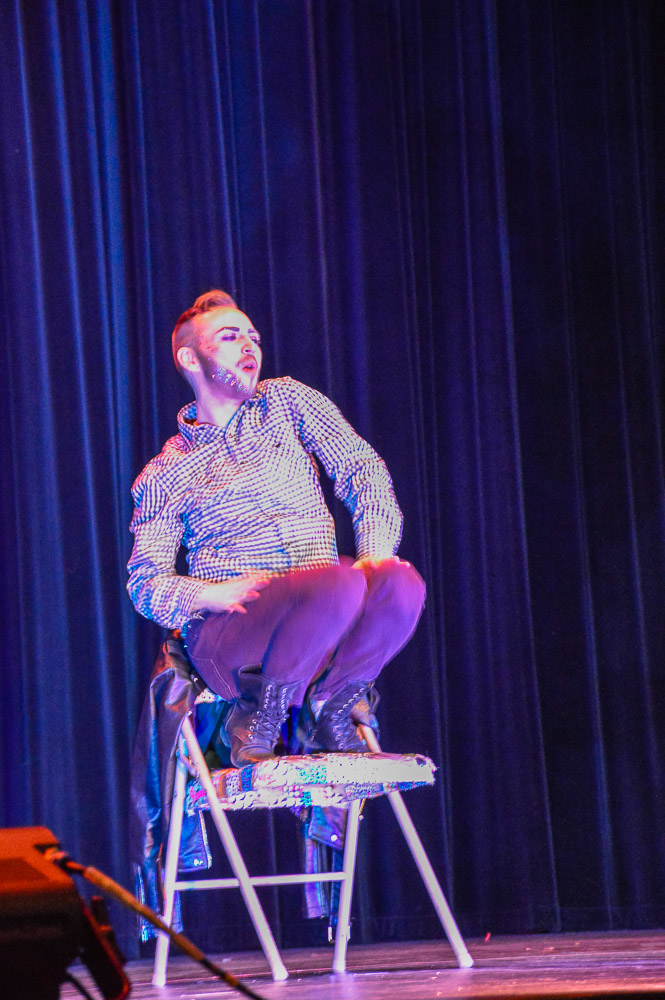 Nate James is the first performer of the night, using a chair as a prop.