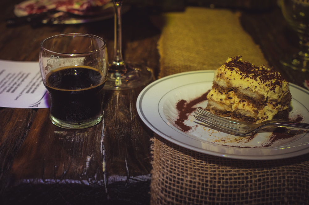 The dessert course at a beer pairing dinner held at Denton County Brewing Company last year.