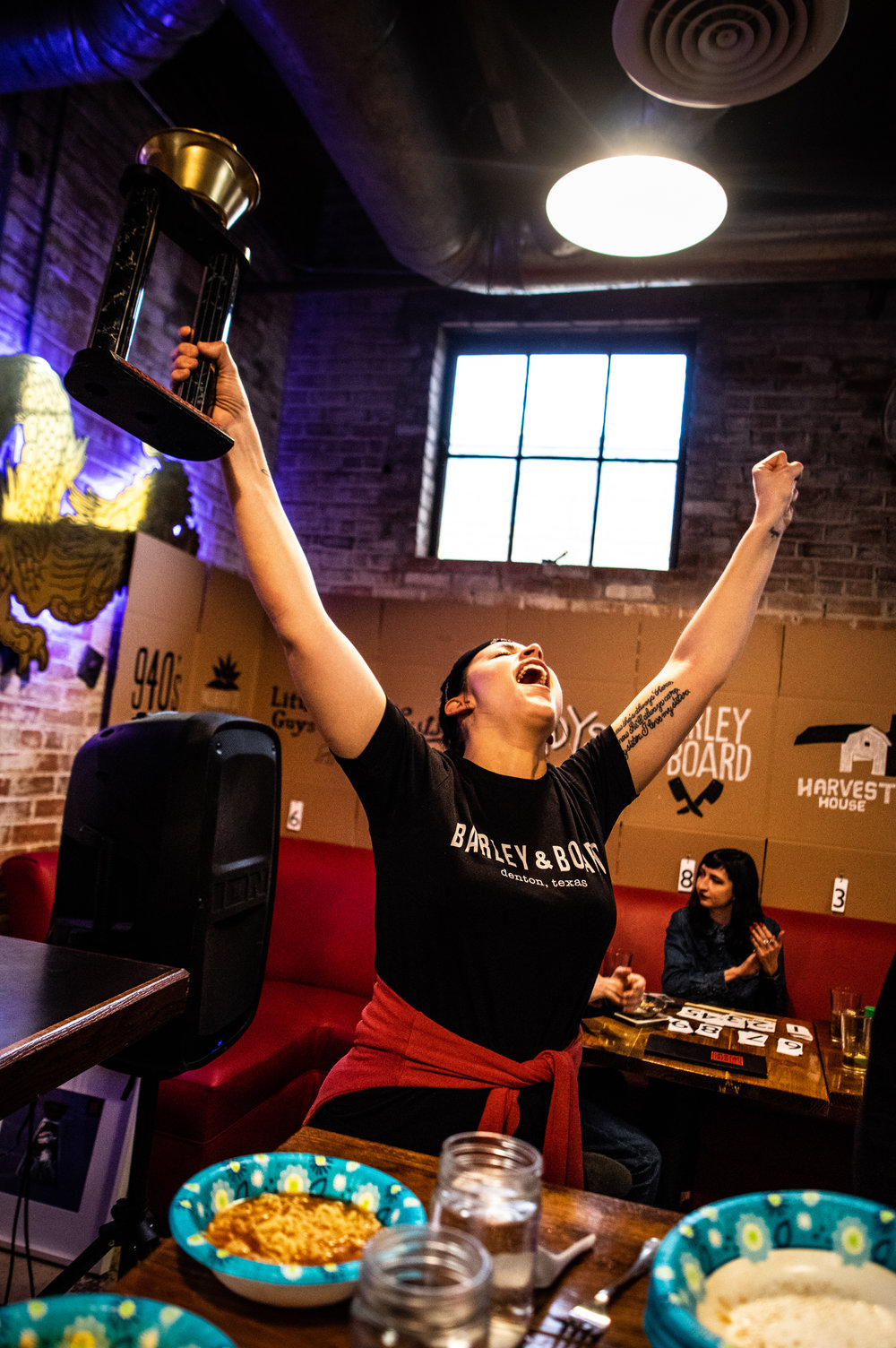 Shelby Hardy celebrates the W.