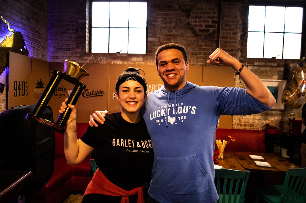 Shelby Hardy and Alaric Ukeh pose for a photo, having walked away from the competition as good sports.