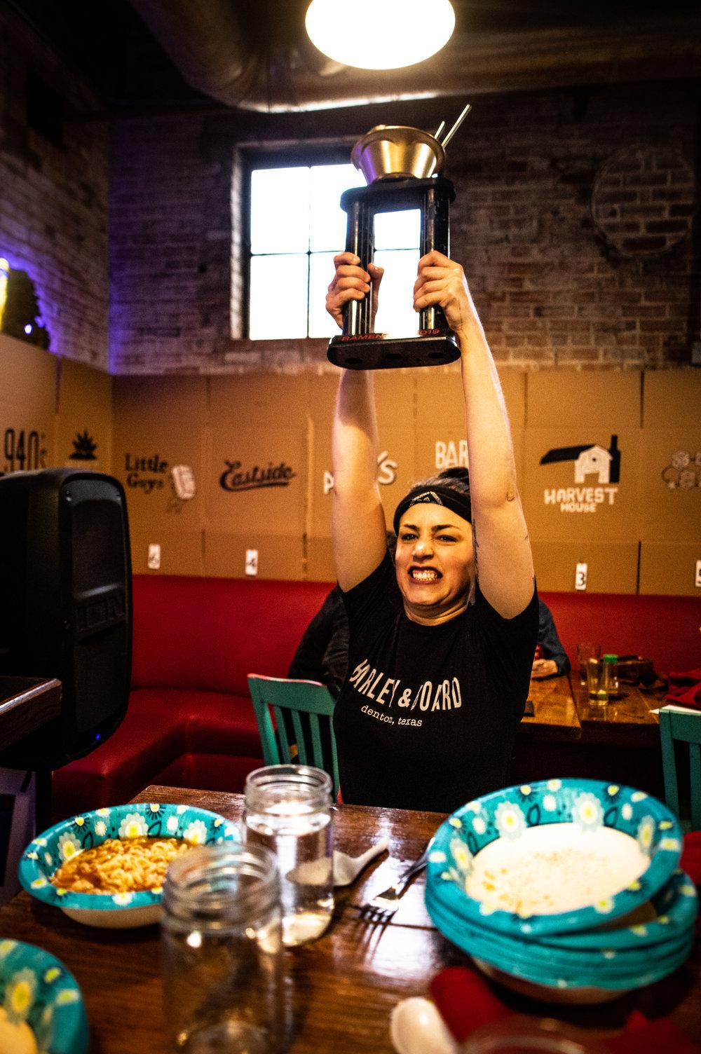 Shelby Hardy celebrating her W.