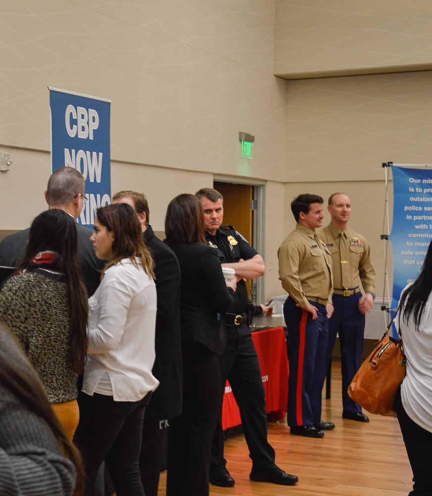 Students and officers at the job fair.
