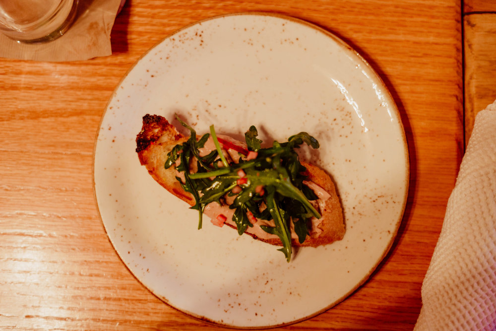 The third course - Chicken Liver Mousse on Grilled Sourdough.