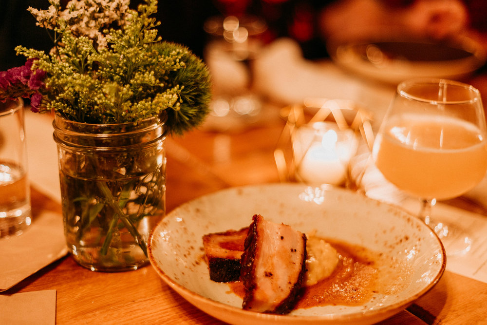 The fourth course - Slow Roasted Pork Belly. Paired with the Home Grown Hero from Denton County Brewing Co.