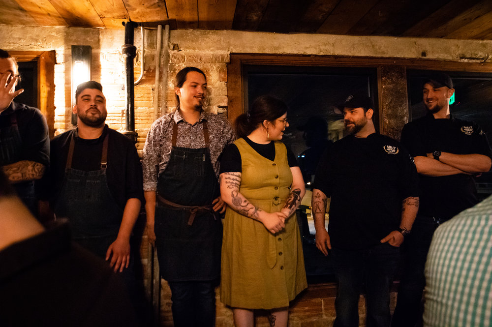 General Manager Chelsea Close, Executive Chef Daniel Thomas, Sous Chef Josh Morris, and more of the kitchen and wait staff of Barley & Board.