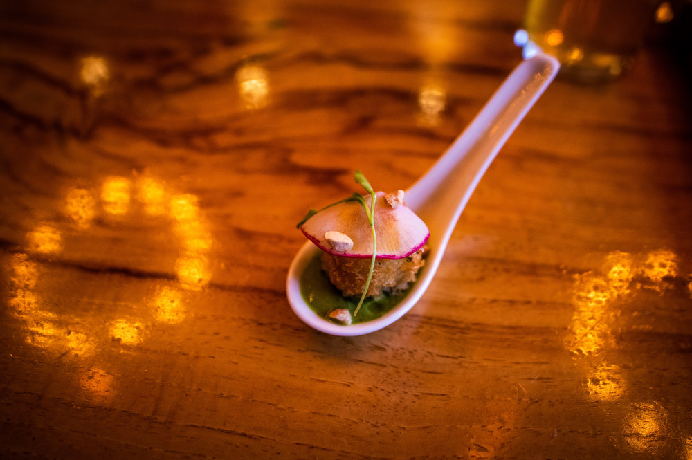 The first course - Curried Crab Cake Spoons.