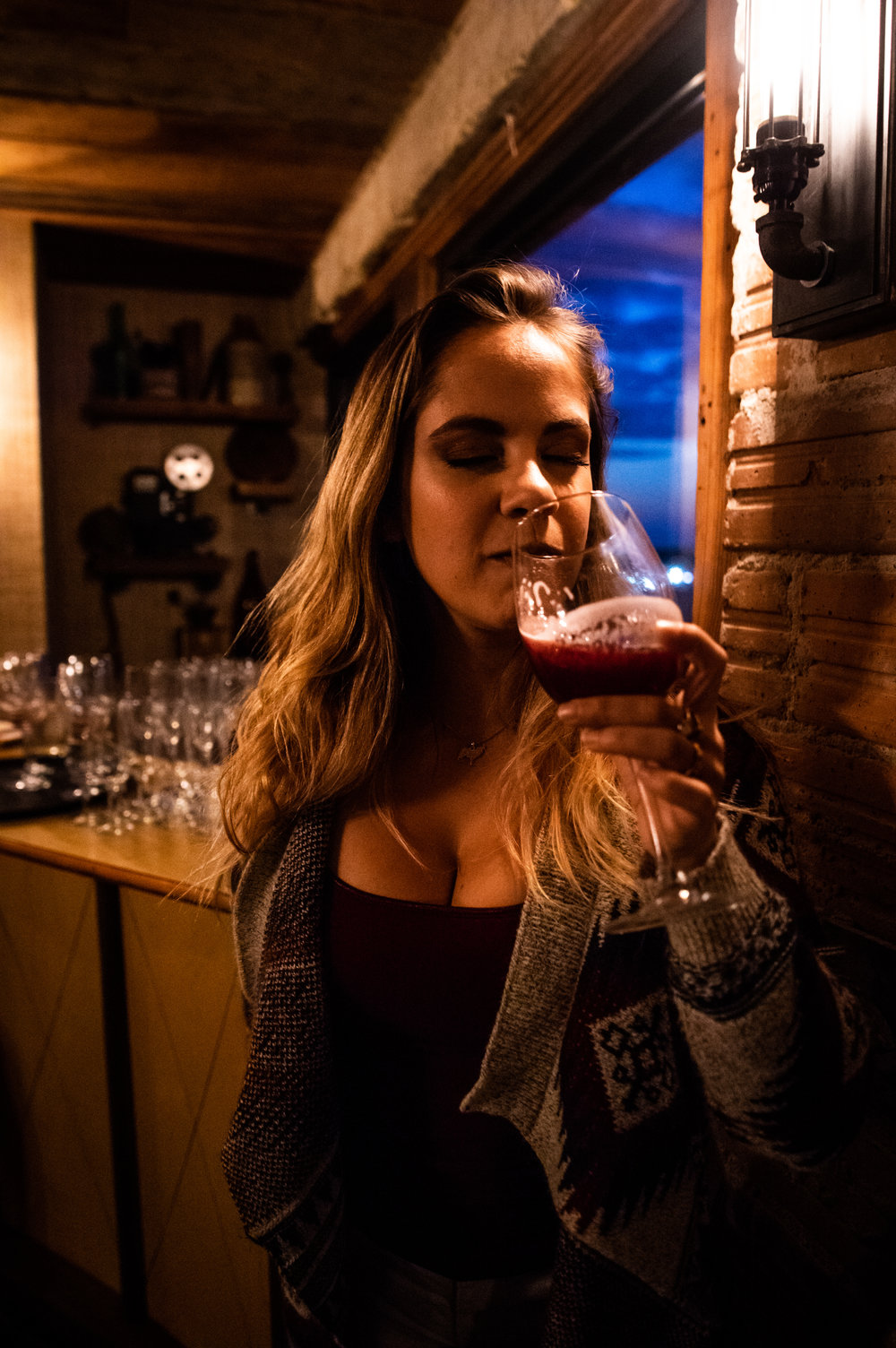 Jennifer Alexander - founder of the beer blog The Beerded Lady - taking a sip of the Blueberry Fortune. Jennifer helped Seth Morgan to both solidify the concept for the Blueberry Fortune and in the brewing process itself.