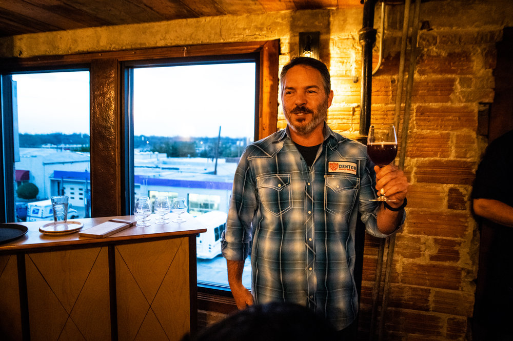 Seth Morgan of Denton County Brewing Co. explains the backstory behind Blueberry Fortune, the IPA paired with the third course.