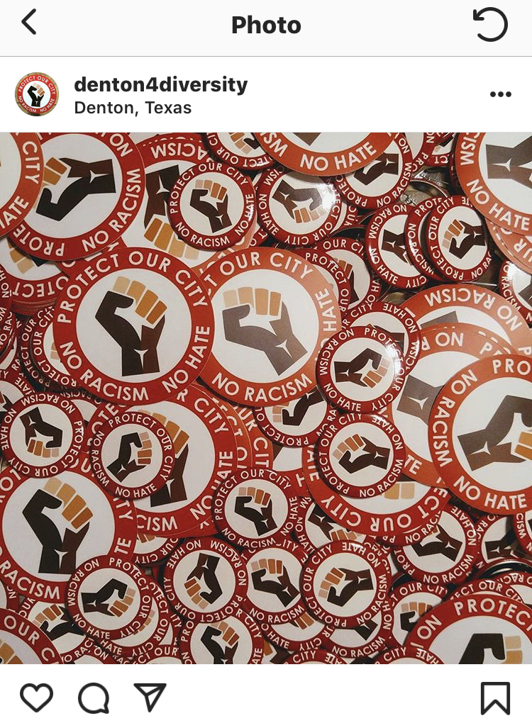 Photos of the red circle buttons taken from Denton4Diversity's Instagram page.