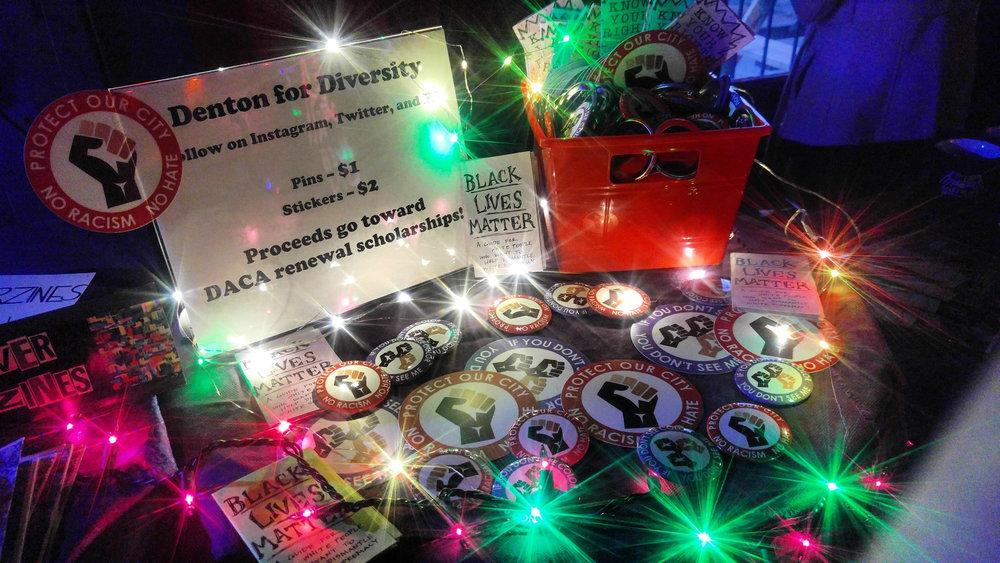 Photo of Denton for Diversity's setup at Spiderweb Salon showcase. Photo taken by Sam Escalante.