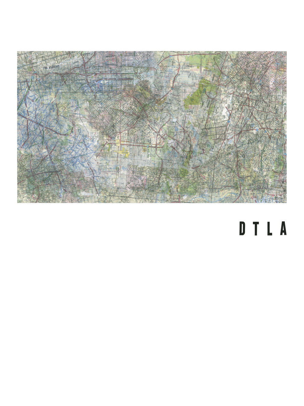 """DTLA Road maps and vinyl letters on paper. 2016. 18 x 24""""."""