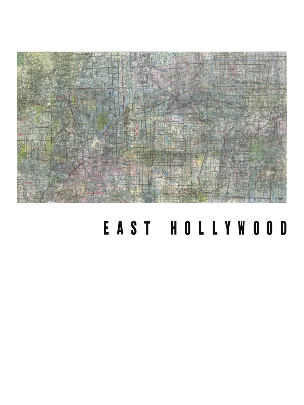 "EAST HOLLYWOOD Road maps and vinyl letters on paper. 2016. 18 x 24""."