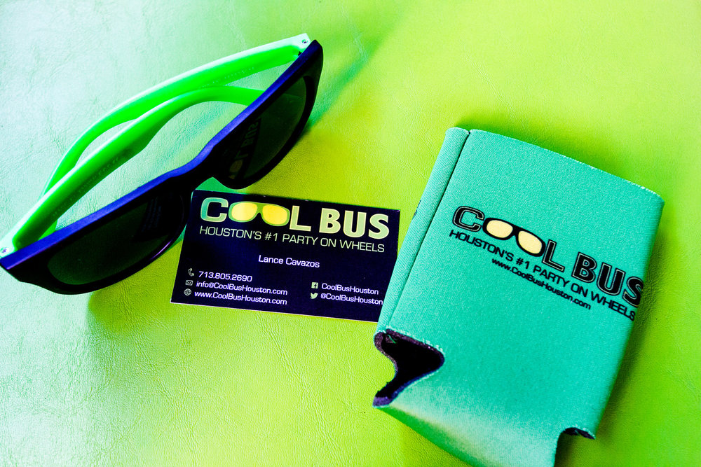 Cool Bus Houston Koozie & Sunglasses