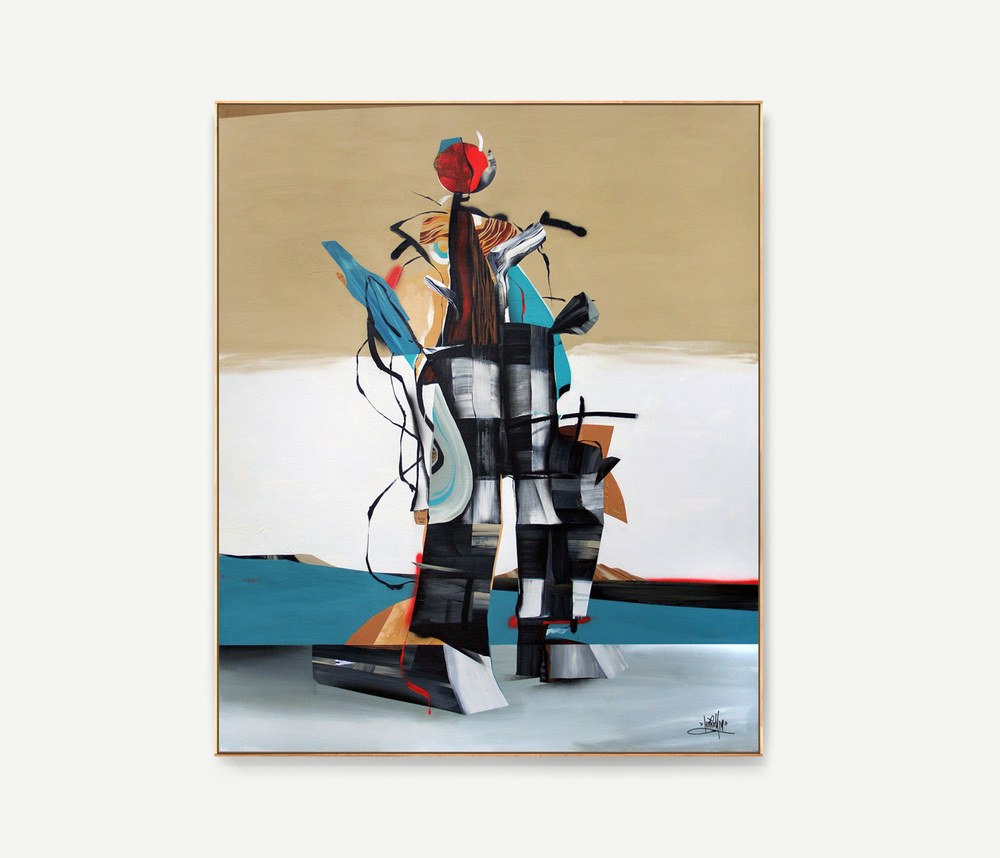 Totem, 2014  acrylic and collage on canvas  60 x 50 inches