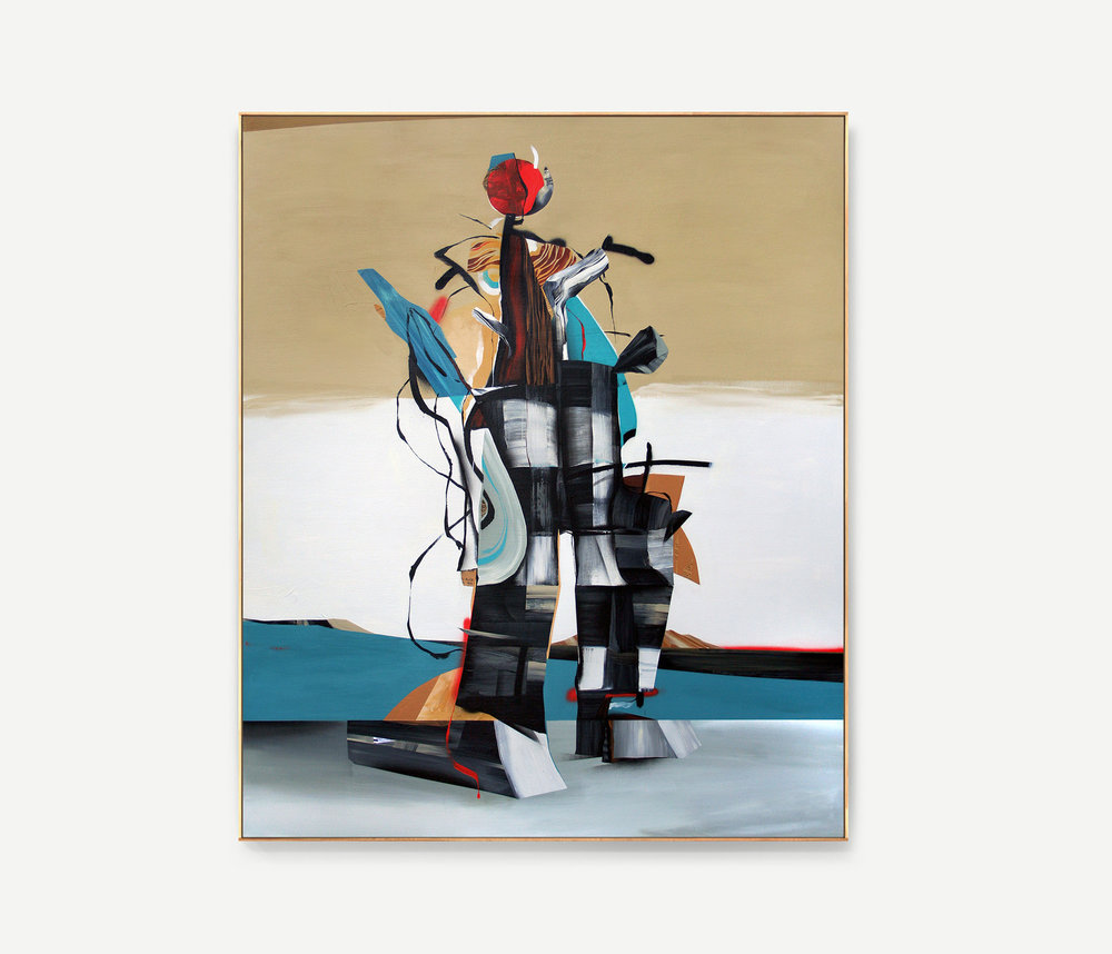 Totem, 2014  acrylic and collage on canvas  66 x 50 inches