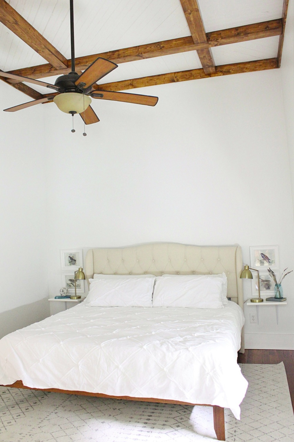Headboard: Wayfar // Bed Frame: Wayfair // Rug: Rugsusa.com // Bedding: Home Goods // Lamps: Target // Nightstands: DIY