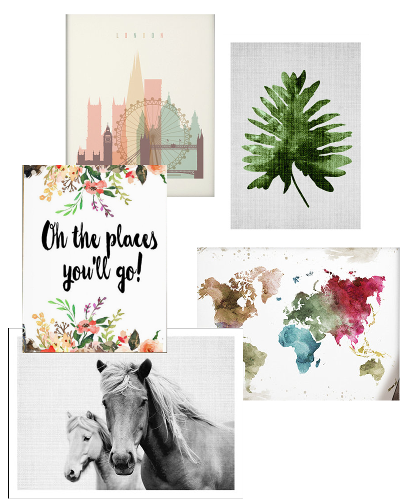 "London Art  //  Leaf Art  //  ""Oh The Places You'll Go""  //  Colorful Map  //  Horse Print"