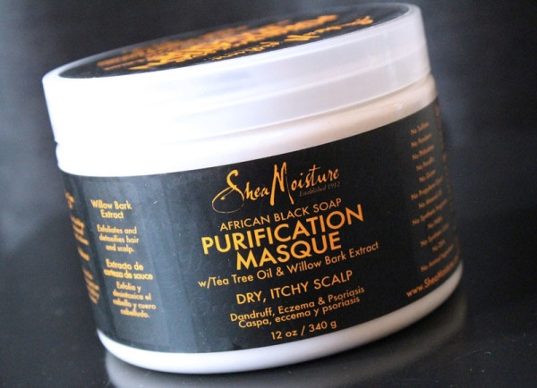 Shea Moisture's African Black Soap Purification Masque with Tea Tree Oil and Willow Bark Extract.  Photo Credit: http://www.theglamorousgleam.com.
