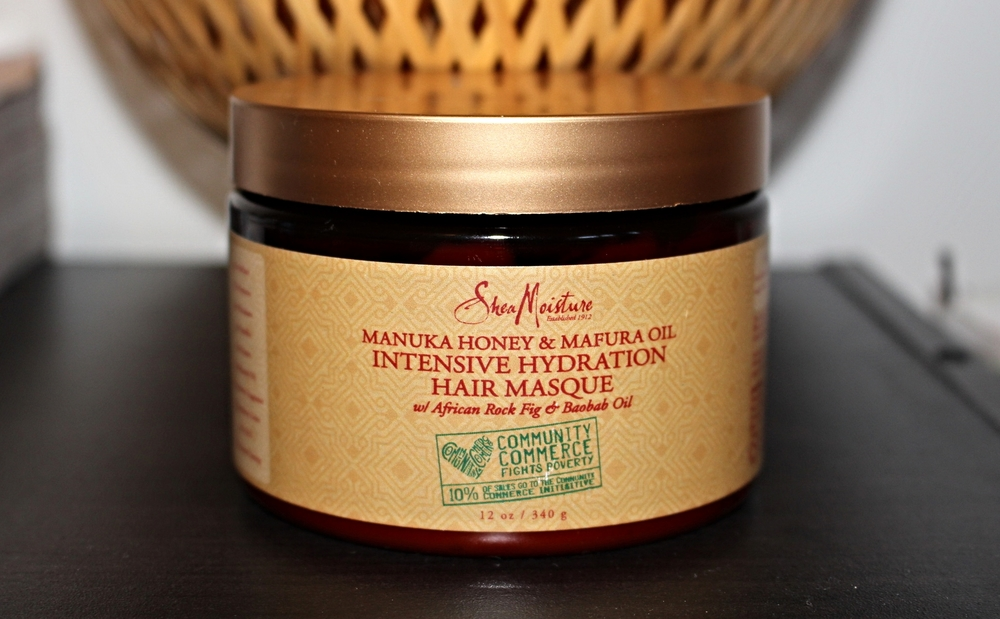 Shea Moisture's Manuka Honey and Mafura Oil Intensive Hydration Hair Masque with African Rock Fig and Baobab Oil.  Photo Credit: http://www.theluxeminimalist.com.