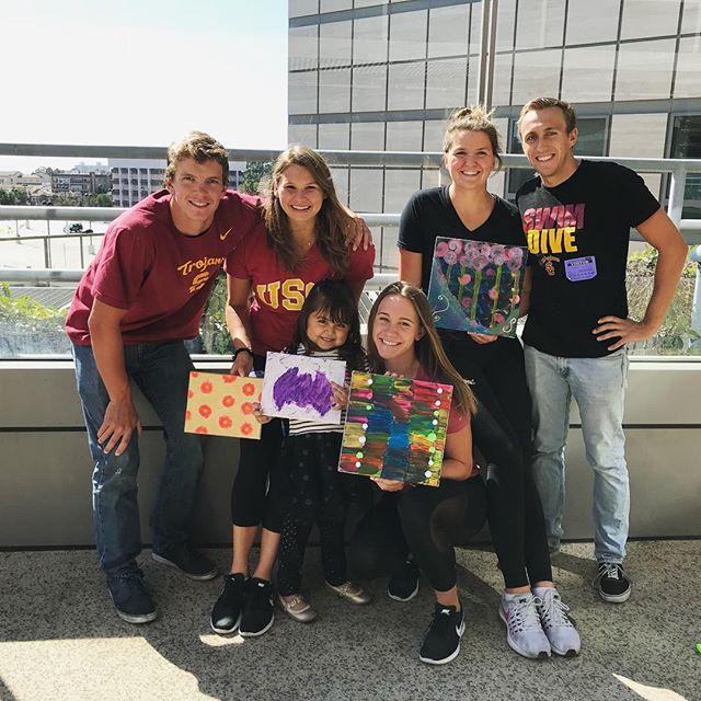 Thanks @uscswim for lending us your best artists for the day! The kids loved them! ❤️🎨