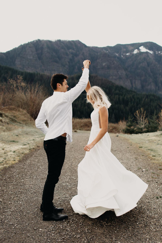 dancing, couple dancing, bride and groom dancing in the mountains, bride dancing in the mountains